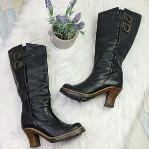 Frye Mildred Engineer Pull On Heeled Strap Boot 6
